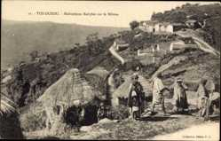 Ak Tizi Ouzou Algerien, Habitations Kabyles sur le Béloua, Strohhütten, Algerier