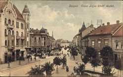Postcard Segedin Szeged Ungarn, Tisza Lajos köruti reszlet, Straßenpartie