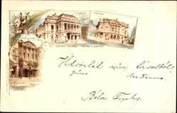 Litho Budapest Ungarn, Szinhazak, Théâtres, Theater, Nepszinhaz