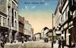 Postcard Miskolc Mischkolz Ungarn, Szechenyi utcza, Straßenpartie, Straßenbahn