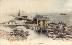 Postcard Yokohama Präf. Kanagawa Japan, Hafen, Dampfer, Fischerboote