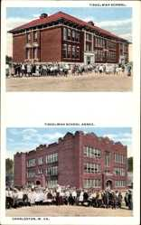 Postcard Charleston West Virginia USA, Tiskelwah School with Annex, children