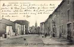 Postcard Vaucouleurs Meuse, Rue Jeanne d'Arc, Straßenpartie, Kirchturm, Hund