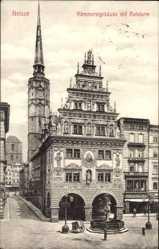 Ak Nysa Neisse Schlesien, Kämmereigebäude mit Ratsturm, Brunnen