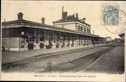 Postcard Mantes Yvelines, La gare, Embranchement, voie des rapides, Bahnhof