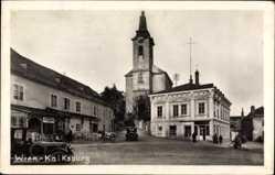 Foto Ak Wien 23. Liesing Kalksburg Österreich, Platz, Kirche, Autos