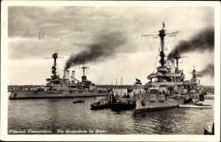 Postcard Świnoujście Swinemünde Pommern, Die Hochseeflotte im Hafen, Kriegsschiffe