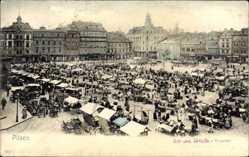 Postcard Plzeň Pilsen Stadt, Blick auf den Ringplatz, Ost und Südseite