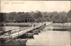 Ak Kołobrzeg Kolberg Pommern, Maikuhle mit Schiffsbrücke, Flusspartie