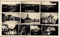 Postcard Žamberk Senftenberg in Böhmen Reg. Pardubice, Rathaus, Villen, Ort