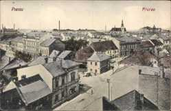 Postcard Prerau Prerov Reg. Olmütz, Blick auf den Ort, Kirche, Straßenpartie