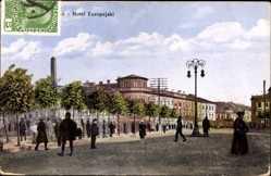 Postcard Lublin Polen, Straßenpartie mit Blick auf Hotel Europejski, Denkmal