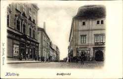 Postcard Klatova Klatovy Reg. Pilsen, Budejovska, L. F. Kral, Bauml, Möbelgeschäft
