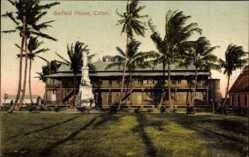 Postcard Colon Panama, View of garfield House, palm trees, monument