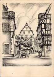 Künstler Ak Reimesch, R., Colmar Elsaß Haut Rhin, Marktplatz, gotisches Kaufhaus