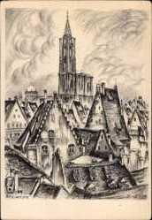 Künstler Ak Reimesch, R., Straßburg Elsaß Bas Rhin, Münster, Ort