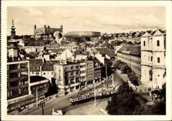 Postcard Poszony Pressburg Bratislava Slowakei, Straßenbahn, Blick auf den Ort