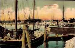 Postcard Sønderborg Sonderburg Dänemark, Partie am Hafen