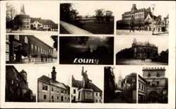 Postcard Louny Ústí nad Labem Aussig Elbe Stadt, Denkmal, Kirche, Markt