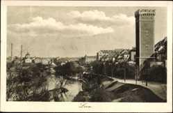 Postcard Louny Ústí nad Labem Aussig Elbe Stadt, Partie am Fluss mit Turm