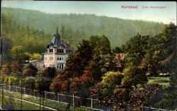 Postcard Karlovy Vary Karlsbad Stadt, Blick auf das Cafe Kaiserpark