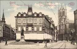 Postcard Gent Ostflandern, Statue Liewen Bauwens, Place Laurent
