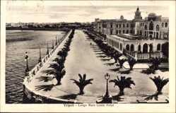 Postcard Tripolis Libyen, Lungo Mare Conte Volpi, Promenade am Wasser