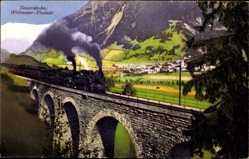 Postcard Bad Hofgastein Salzburg, Tauernbahn, Weitmoser Viadukt, Dampflokomotive