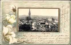 Präge Passepartout Ak Ried im Innkreis Oberösterreich, Totalansicht, Kirche
