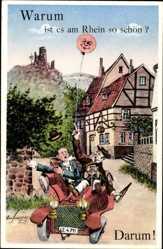 Postcard Warum ist es am Rhein so schön, Darum, Ballon, Auto, Burgruine