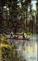 Ak Spreewald, Im königlichen Wald bei der Schutzhütte, Gondelfahrer