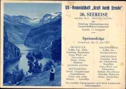 Postcard MS Monte Olivia, HSDG, 26. Seereise, KdF, Speisenfolge 22 Juni 1935