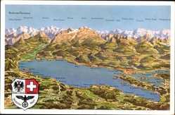 Landkarten Ak Bodensee Panorama, Österreich, Schweiz, Deutsches Reich