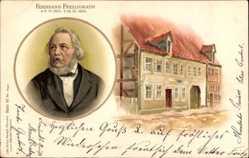 Litho Lyriker und Dichter Ferdinand Freiligrath, 1810 bis 1876, Haus