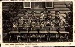 Postcard Reihwiesen Reg. Olmütz, Eine bunte Gesellschaft im Seehirtenhof, Brauner