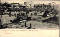 Ak Santiago de Compostela Galicien Spanien, Stationsplatz, Plaza de la estacion