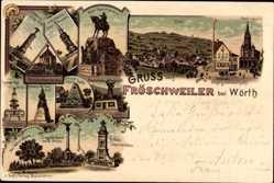 Litho Fröschweiler bei Wörth Bas Rhin, Friedenskirche, 11. Hess. Jägerbataillon