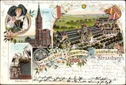 Vorläufer Litho Straßburg Elsaß Bas Rhin, Industrie u. Gewerbeausst.,Tracht 1895