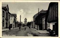 Postcard Tyniste n. Orlici Reg. Königgrätz, Straßenpartie mit Blick auf die Kirche