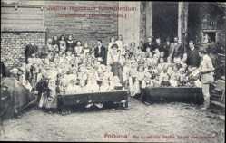 Postcard Postorna Südmähren, Justitia regnorum fundamentum, Kinder in Schule