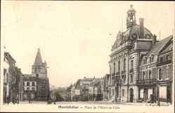 Ak Montdidier Moselle, Place de l'Hotel de Ville, Platz, Rathaus, Kirchturm