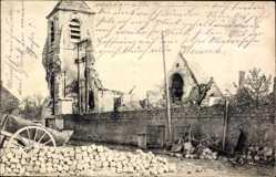 Ak Neuville Saint Vaast Pas de Calais, Kriegszerstörungen, Kirche, Eglise