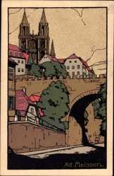 Steindruck Alt Meißen Elbe, Blick auf Brücke und Dom, Mauern