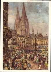 Ganzsachen Künstler Ak Köln am Rhein, Karneval, Marktplatz, Dom im Hintergrund