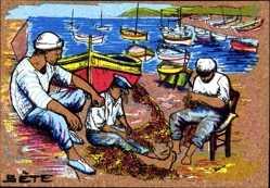 Kork Ak Les Pêcheurs, Frankreich, Fischer flicken ihre Fangnetze