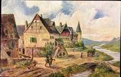 Künstler Ak Bürger, R., Moseltal, Vallee de la Moselle, Degi