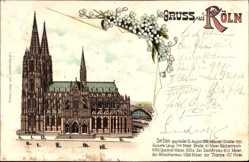 Litho Köln Rhein, Ansicht vom Kölner Dom, Gegründet 1298