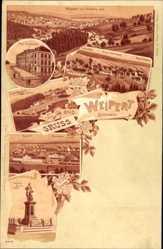 Litho Weipert Region Aussig, Bürgerschule, Bahnhof, Schützenhaus, Denkmal