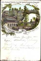 Litho Hřensko Herrnskretschen Elbe Reg. Aussig, Hotel Prebischthor, Rainwiese