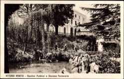 Postcard Vittorio Veneto, Giardini Pibblici e Stazione Ferroviaria, Bahnhof